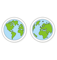 Planet Earth buttons logo or icon green and blue vector image