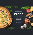realistic pizza background menu poster vector image vector image