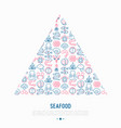 seafood concept in triangle with thin line icons vector image