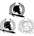 set ancient helmets with swords vector image vector image