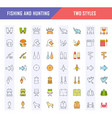 set flat line icons fishing and hunting vector image vector image