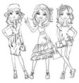 set of cute fashionable girls vector image vector image