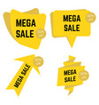 set of four yellow mega sale stickers with text vector image vector image