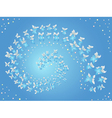 Spiral of flying butterflies on a blue vector image vector image