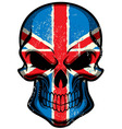 UK flag painted on skull vector image