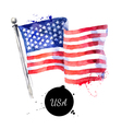 watercolor usa flag hand drawn flag of america vector image