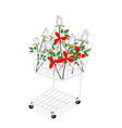 White Rose Bouquets with Ribbon in Shopping Cart vector image vector image