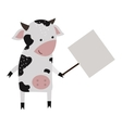 Wild animal cow strike with clean plate board vector image vector image