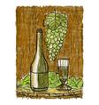 wine still life painting vector image