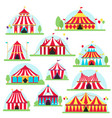 circus tent marquee with stripes and flags vector image