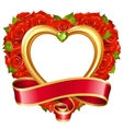 rose frame in the shape of heart vector image