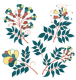 Set of Flowers for greeting card and Romantic labe vector image