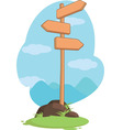 Wooden Mountain Guidepost Sign vector image