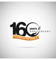 160 years anniversary logo with ribbon and hand vector image vector image