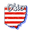 american flag in ohio state map grunge style with vector image vector image