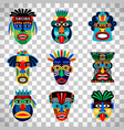 aztec mask set on transparent background vector image vector image