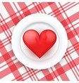 Background white plate with realistic heart vector image vector image