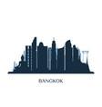 bangkok skyline monochrome silhouette vector image