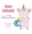 beautiful doodle baby shower card wirh watercolor vector image vector image
