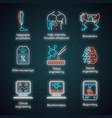 bioengineering neon light icons set biotechnology vector image vector image