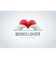 Books heart logo vector image