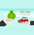 buying or renting new or used red car banner vector image vector image