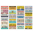 car plates highway automobile license numbers old vector image