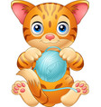 cartoon baby cat playing with ball of blue yarn vector image