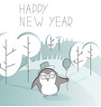 cartoon penguin standing in thee winter forest vector image