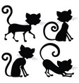cat silhouette in different poses vector image
