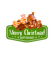 christmas gingerbread cookie greeting card design vector image vector image