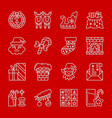 christmas new year white thin line icon set vector image vector image