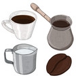 coffee set - cezve pot milk jug cup and coffee vector image vector image