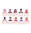 collection of smiling young men and women holding vector image vector image