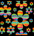 colorful floral seamless pattern with dotted vector image vector image