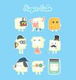 cute sugar cube cartoon role play character vector image vector image