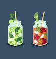 detox energetic cocktails set refreshing drinks vector image vector image