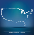 Doodle Map of United States of America vector image vector image
