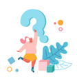 female character stand under huge question mark vector image