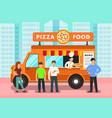 food truck in modern city vector image vector image