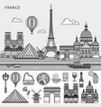 french symbols and french sights flat line line vector image vector image
