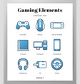 gaming elements linecolor vector image
