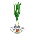 geek cartoon fresh green onions on cutting board vector image vector image
