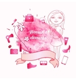 Girl in sketch style on pink hand drawn watercolor vector image