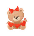 girly teddy bear with red bow on head holding vector image