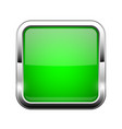 green glass button shiny square 3d web icon vector image vector image