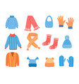 knitting clothes winter cup cardigan jacket scarf vector image vector image
