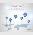 light world map with pointer marks vector image