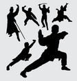 martial art sport with weapon silhouette vector image