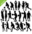 Men play basketball silhouettes vector image vector image